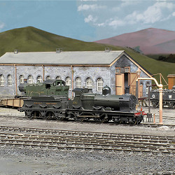 The engine shed at Pen Tor Road with Dean 4-4-0 locomotive 3560 in the foreground and a 56XX Class 0-6-2T on the turntable